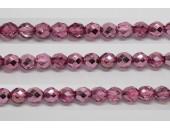 30 perles verre facettes rose fonce demi metalise 8mm