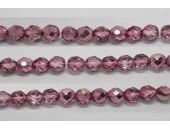 60 perles verre facettes rose demi metalise 4mm