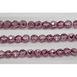 30 perles verre facettes rose demi metalise 6mm