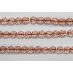 60 perles verre facettes rose trou cuivre 5mm