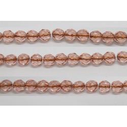 30 perles verre facettes rose trou cuivre 6mm