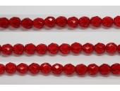 30 perles verre facettes rubis 6mm