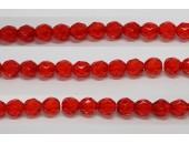 60 perles verre facettes rubis clair 5mm