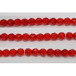 30 perles verre facettes rubis clair 6mm