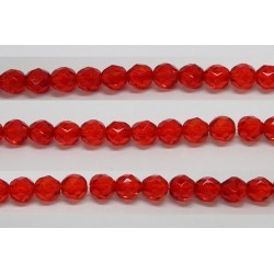 30 perles verre facettes rubis clair 12mm