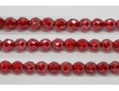 60 perles verre facettes rubis lustre 4mm