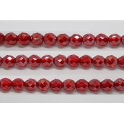 30 perles verre facettes rubis lustre 8mm