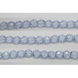60 perles verre facettes saphir clair 4mm