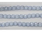 30 perles verre facettes saphir clair 8mm
