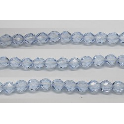 30 perles verre facettes saphir clair 10mm