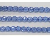 30 perles verre facettes saphir lustre 6mm