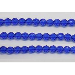 30 perles verre facettes saphir 14mm