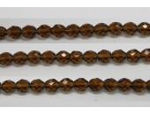 30 perles verre facettes smoke topaze 6mm