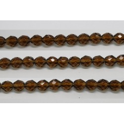 30 perles verre facettes smoke topaze 8mm