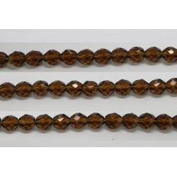 30 perles verre facettes smoke topaze 10mm