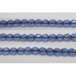 30 perles verre facettes saphir trou cuivre 8mm