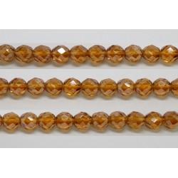 30 perles verre facettes topaze fonce lustre 8mm