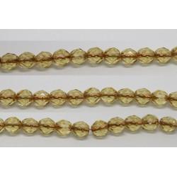 30 perles verre facettes topaze trou cuivre 8mm