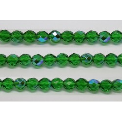 30 perles verre facettes vert A/B 14mm