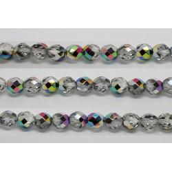 30 perles verre facettes vitrail 6mm