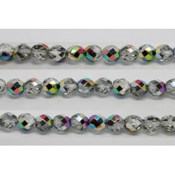 30 perles verre facettes vitrail 12mm
