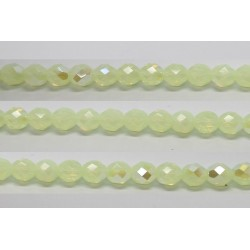 30 perles verre facettes vert opale A/B 6mm