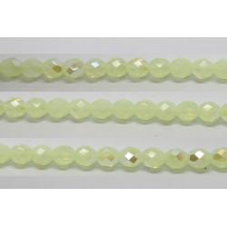 30 perles verre facettes vert opale A/B 12mm