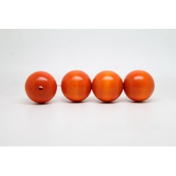 100 perles rondes bois orange 14 mm