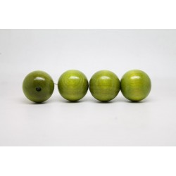 100 perles rondes bois vert clair 14 mm