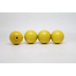 50 perles rondes bois jaune 24 mm