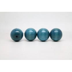 100 perles rondes bois bleu clair 14 mm