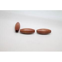 50 olives gros trou bois noisette 15x40 mm