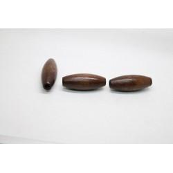 50 olives gros trou bois marron fonce 15x40 mm