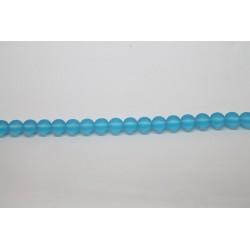 75 perles verre aigue marine mat 14mm