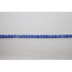 75 perles verre bleu soie 16mm