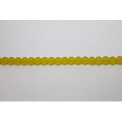 75 perles verre jaune mat 14mm