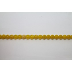 75 perles verre jaune soie 14mm