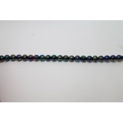 75 perles verre noir irise 16mm