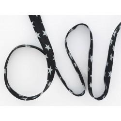 5 mts Biais Etoiles 10mm Noir