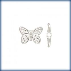 2 Perles Papillons 14mm Argent Véritable