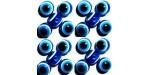 50 Perles Oeil Acrylique Bleu foncé 14mm