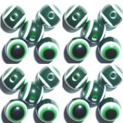 100 Perles Oeil Acrylique Vert foncé 10mm