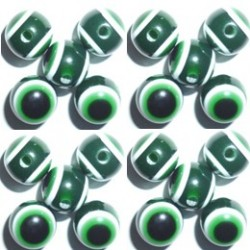 100 Perles Oeil Acrylique Vert foncé 12mm