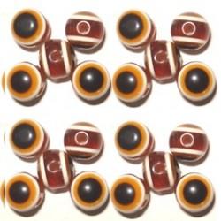 100 Perles Oeil Acrylique Marron 10mm