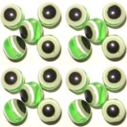 100 Perles Oeil Acrylique Vert clair 8mm