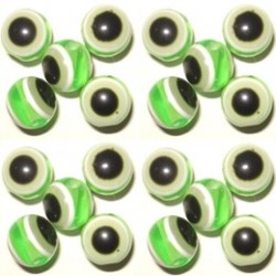 50 Perles Oeil Acrylique Vert clair 14mm