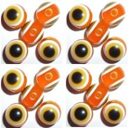 100 Perles Oeil Acrylique Orange 12mm
