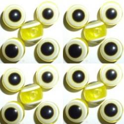 100 Disques Oeil Acrylique Jaune 8mm
