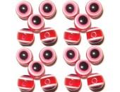 50 Perles Oeil Acrylique Rouge 14mm