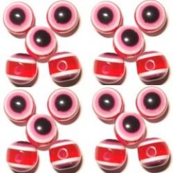 100 Disques Oeil Acrylique Rouge 8mm